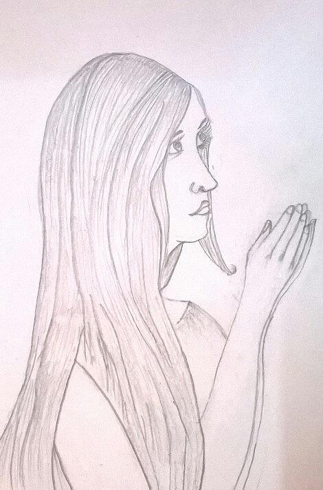 470x712 Praying Woman Drawing by Sonia dutta