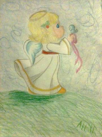 360x480 Precious Moments Angel In Drawing Form By Witch Baby31