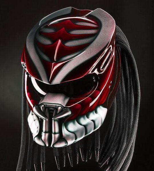 540x598 Predator Helmet Custom Motorcycle Red Silver Motif Gloss (Approved