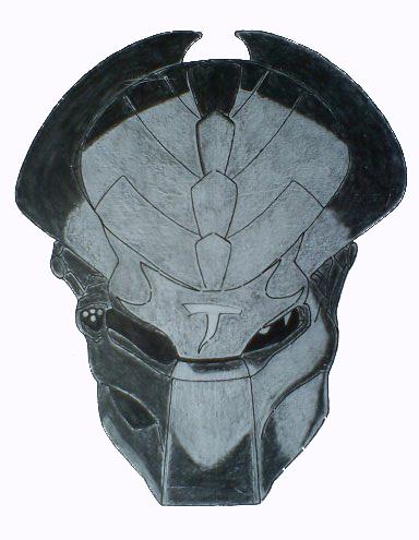 384x495 Predator Helmet Drawing