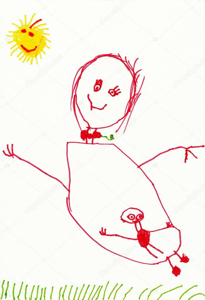 699x1024 Child's Drawing. Pregnant Woman On Outdoor. Stock Photo Soleg