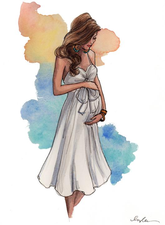 530x721 Pregnant Watercolor Art Watercolor, Illustrations