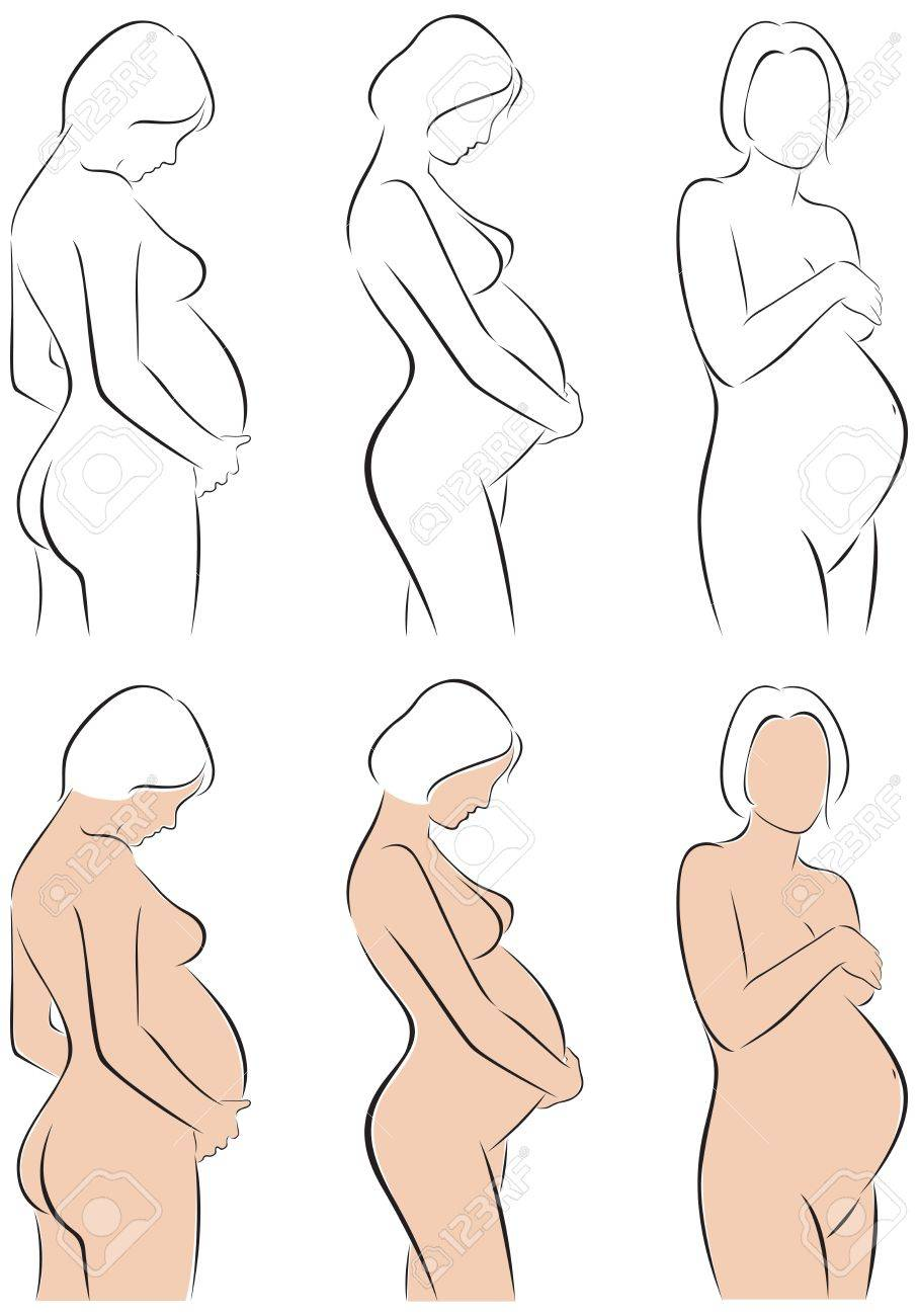 907x1300 Stylized Line Drawing Pregnant Woman Royalty Free Cliparts