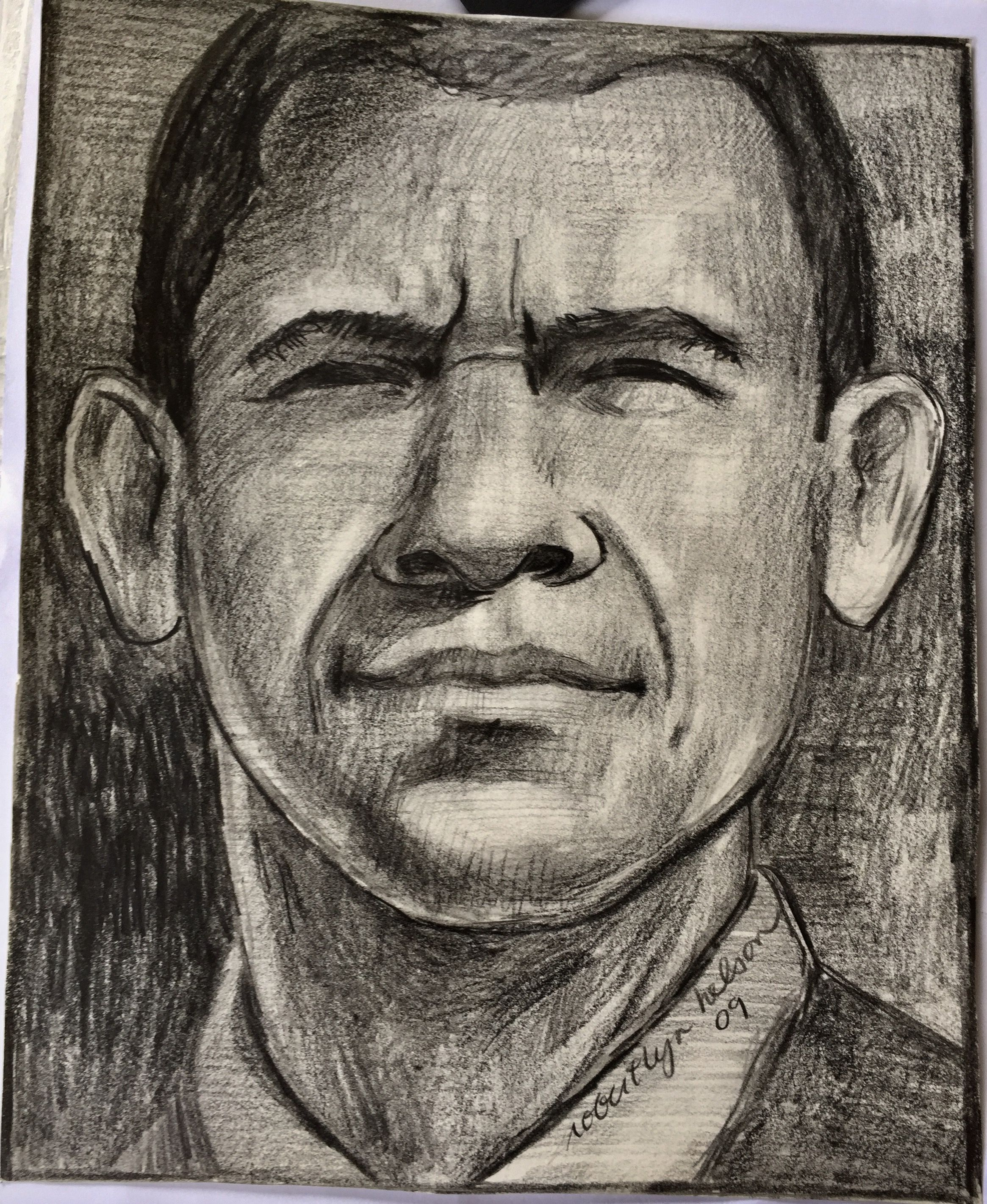 2330x2843 President Obama Sketch By Robert Lyn Nelson 2009 9x12 Pencil