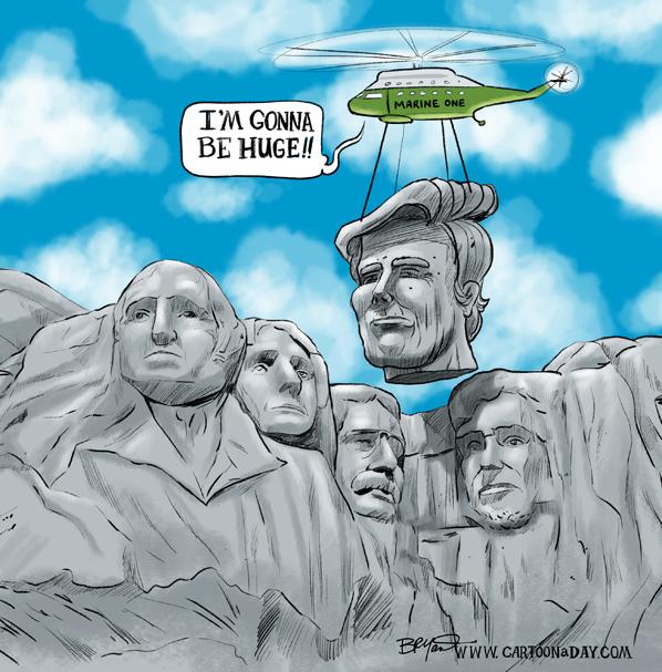 598x607 Presidents Day Trump Mt Rushmore Cartoon