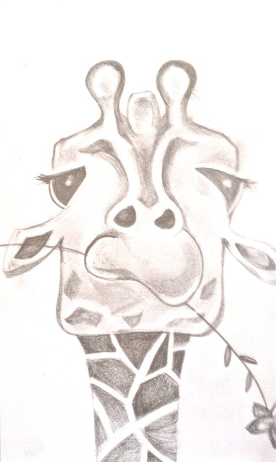 570x953 Funny Giraffe Drawing. By Bunnytheduck On Etsy, Animal Sketch
