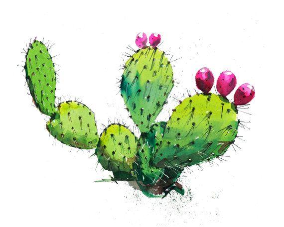 570x456 Prickly Pear Cactus Watercolor Illustration Print Artwork