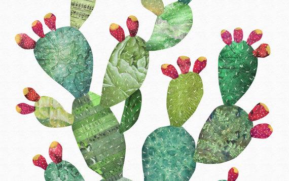 570x357 Prickly Pear Print Cactus Art Print Green Southwest Cacti