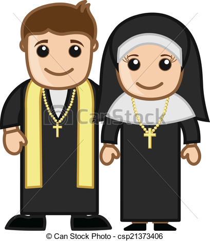 409x470 Cartoon Priest And Nun Vector. Priest And Nun