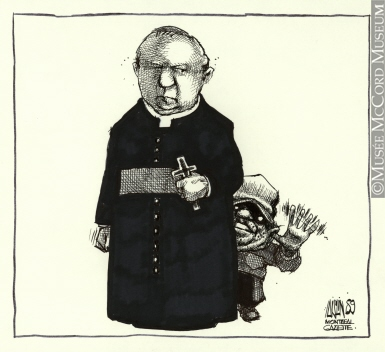 385x352 M990.761.57 Noriega And The Priest Drawing, Cartoon Aislin