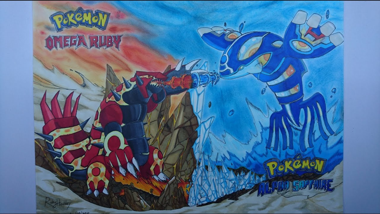 1280x720 Drawing Primal Groudon And Primal Kyogre