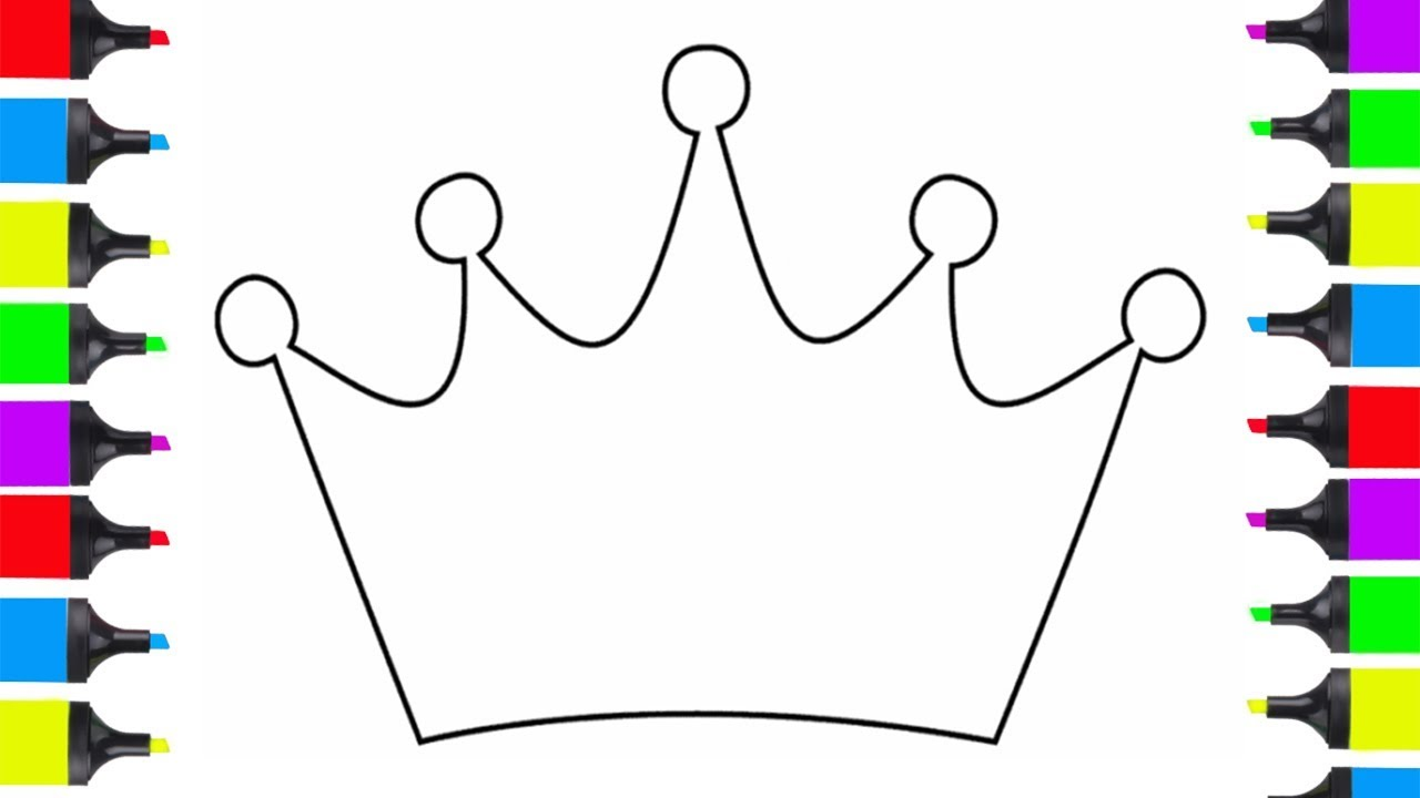 1280x720 How To Draw Prince Crown Easy Coloring Pages For Kids Learn