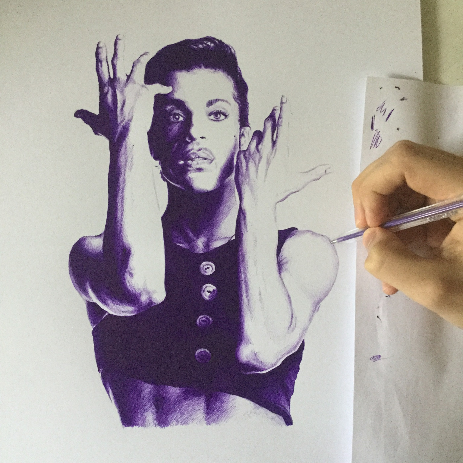 1536x1536 My Drawing Of Prince In Purple Ball Point Pen.