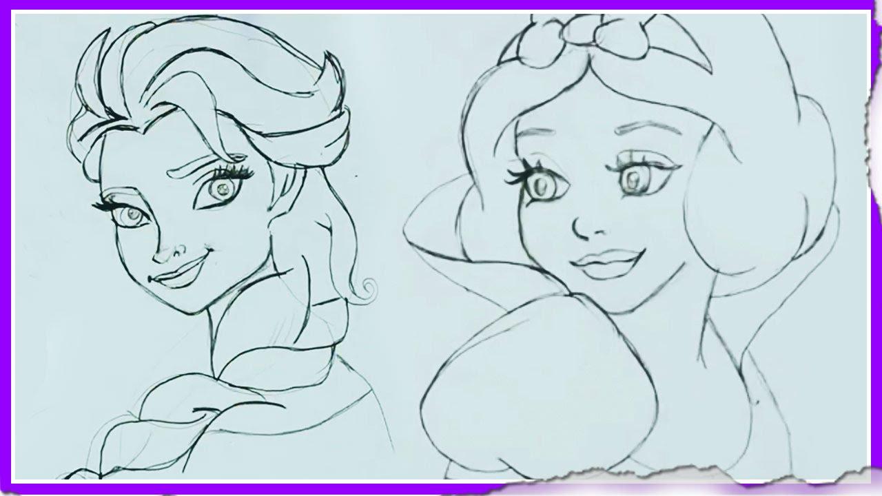 1280x720 Disney Princes Sketch Cartoon How To Draw Disney Princesses