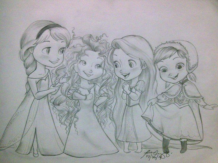 736x552 Elsa, Merida, Rapunzel And Anna. Cuties! Drawings, Paintings