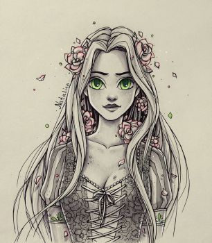 306x350 Roses In The Hair By Natalico Art Draw, Drawing