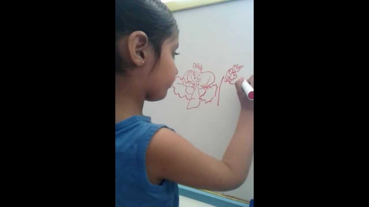 1280x720 4 Years Old Anshi Drawing Princess And Prince