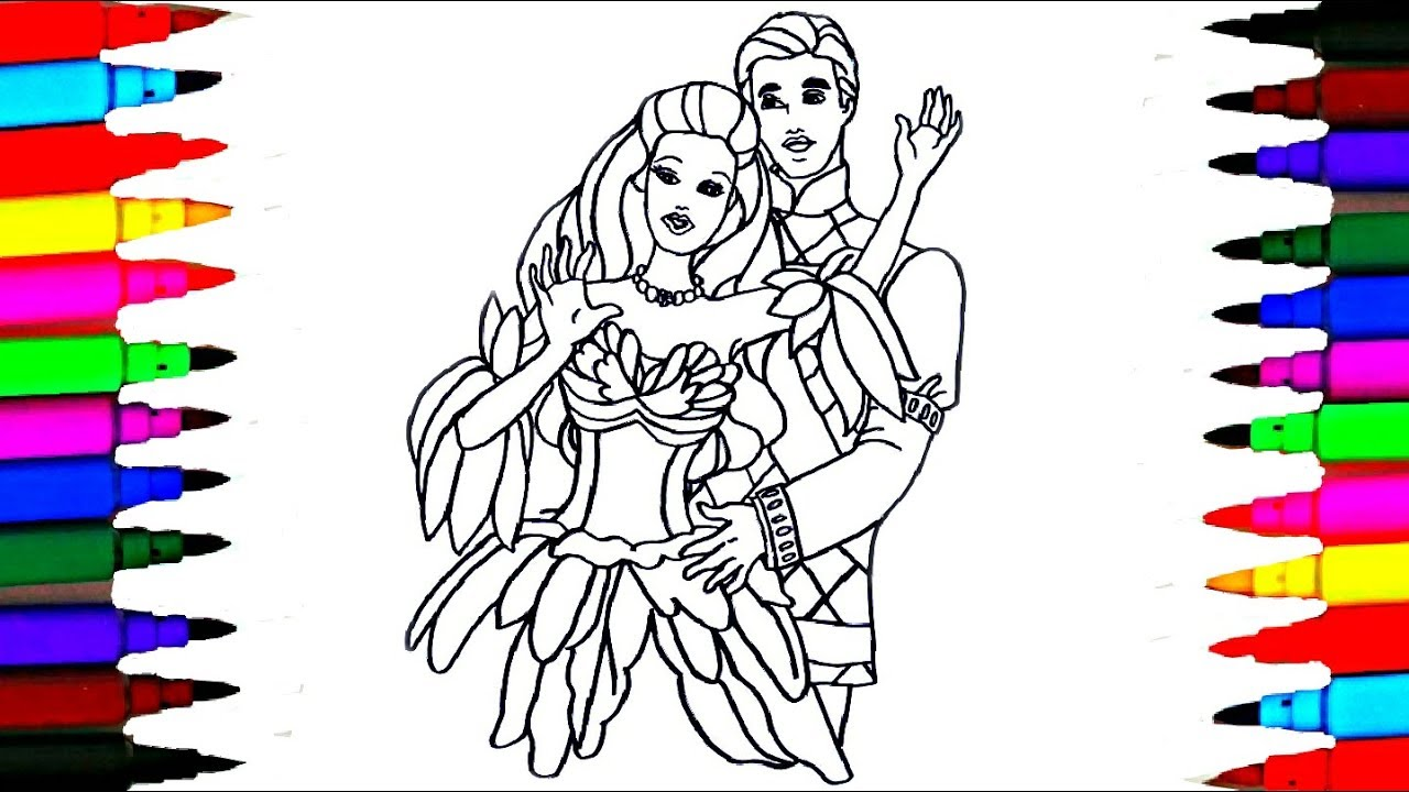 1280x720 How To Draw Barbie Princess And Prince Ken Coloring Pages For Kids
