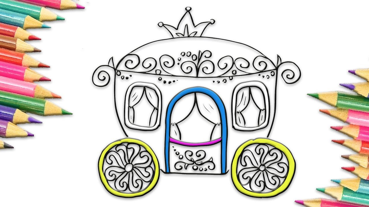 1280x720 How To Draw Princess Carriage Coloring Pages For Kids Drawing Art