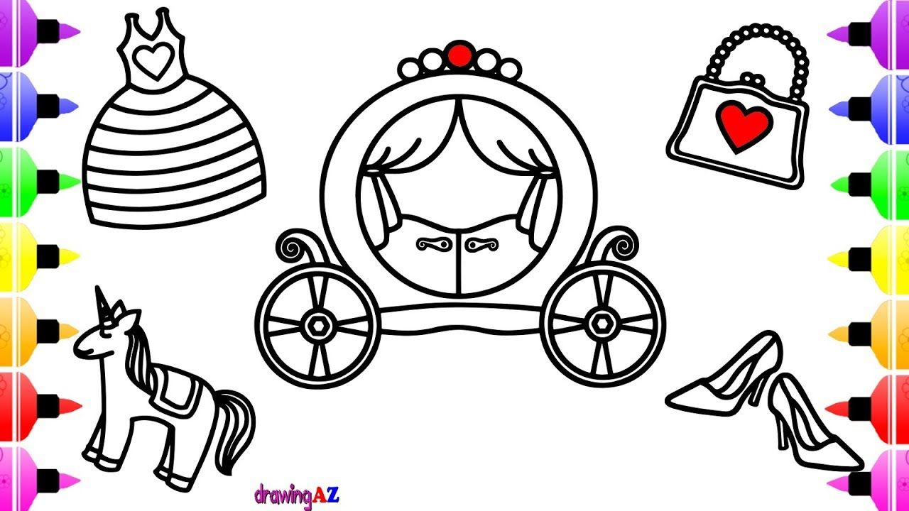 1280x720 How To Draw Princess Carriage Dress Horse And Accessories