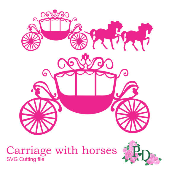 570x570 Svg Dxf Png Princess Carriage Horse Cutting File Digital