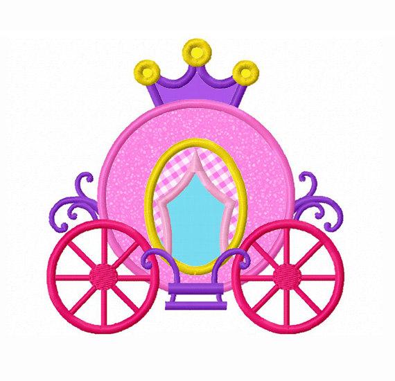 570x550 Princess Carriage Applique Machine Embroidery Design No0090