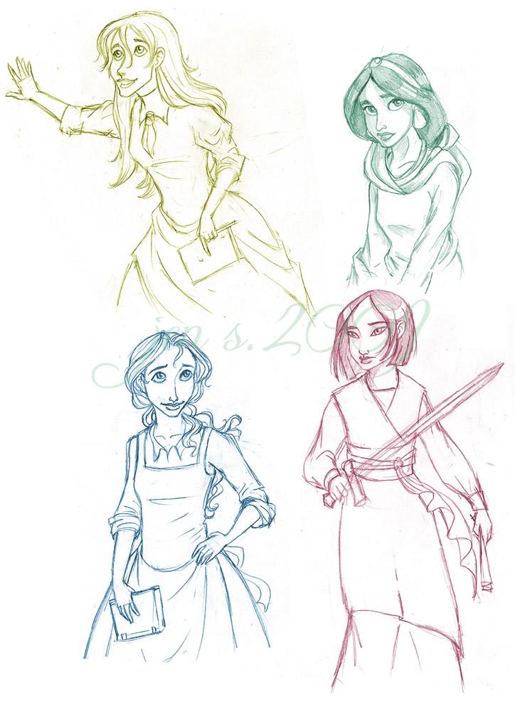724x1000 Disney Princess Sketches By Doomandnachos