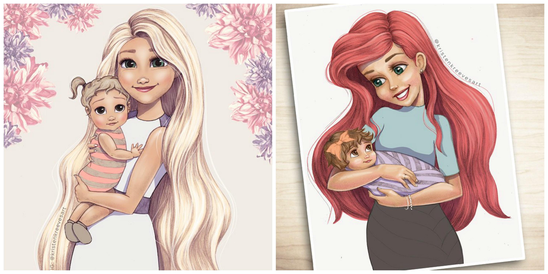 3000x1500 Which Disney Princesses Had Kids See Disney Princesses Drawn As