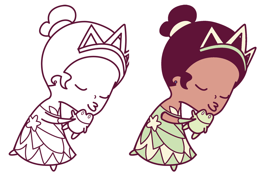 900x604 How To Draw Princess Tiana Kissing A Frog (Cute Chibi Kawaii