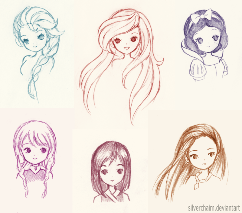 800x704 Disney Princess Sketches By Silverchaim