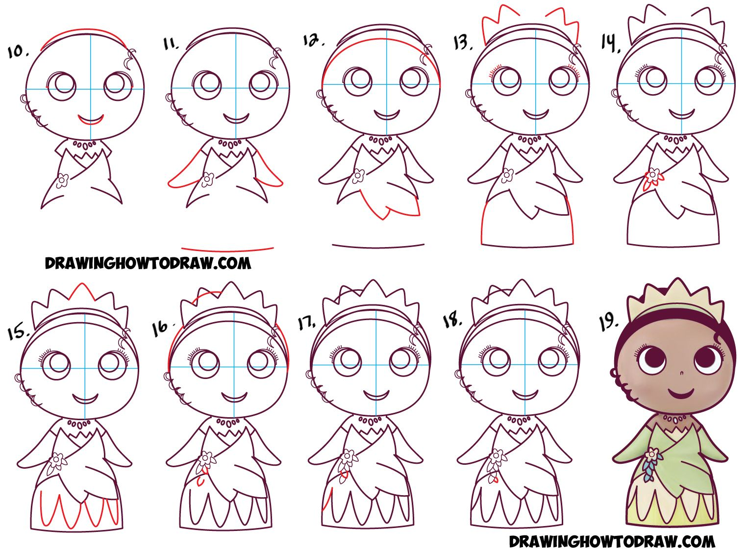 1526x1130 How To Draw Cute Baby Chibi Kawaii Tiana The Disney Princess