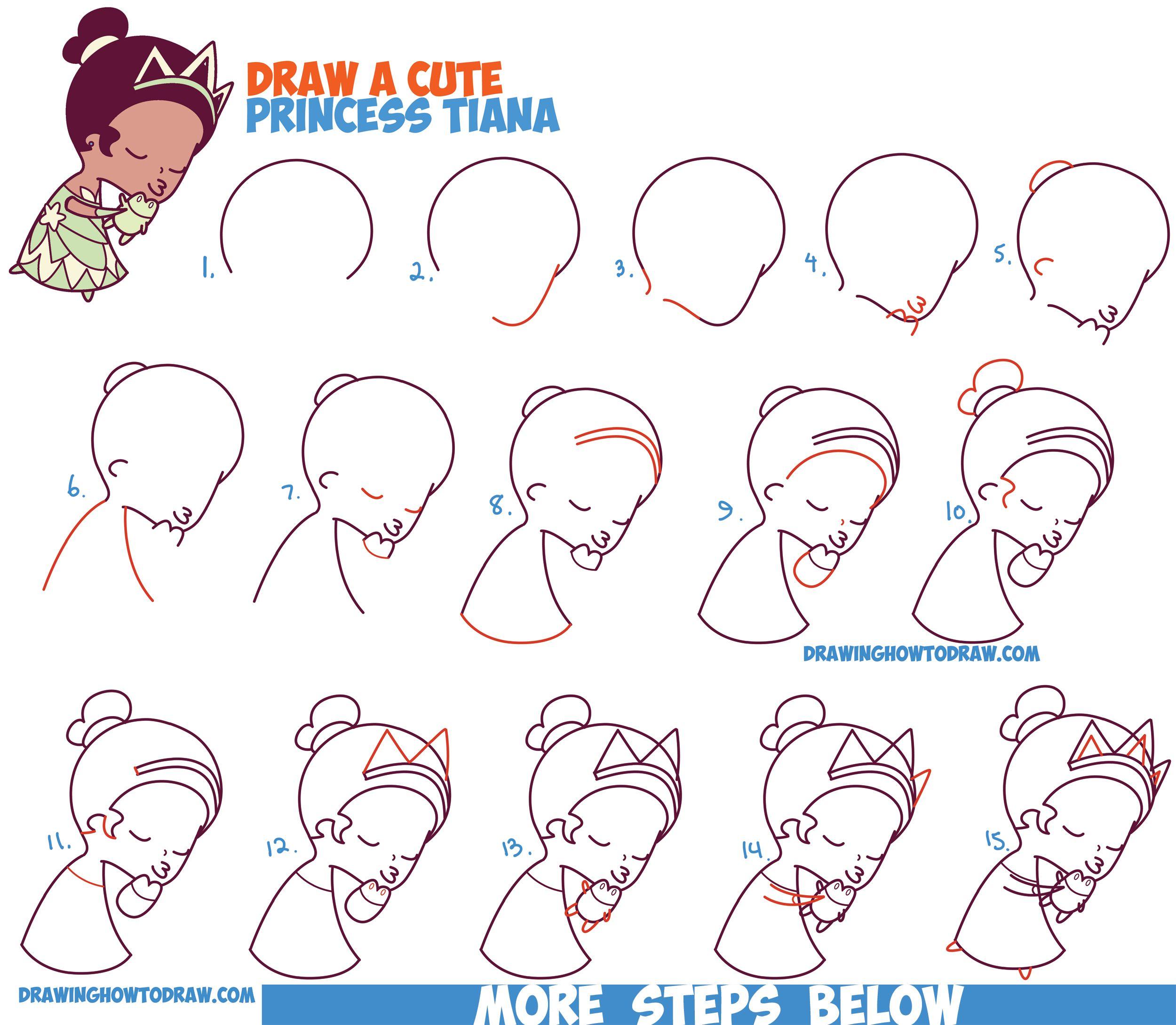 2500x2180 How To Draw Princess Tiana Kissing A Frog (Cute Chibi Kawaii