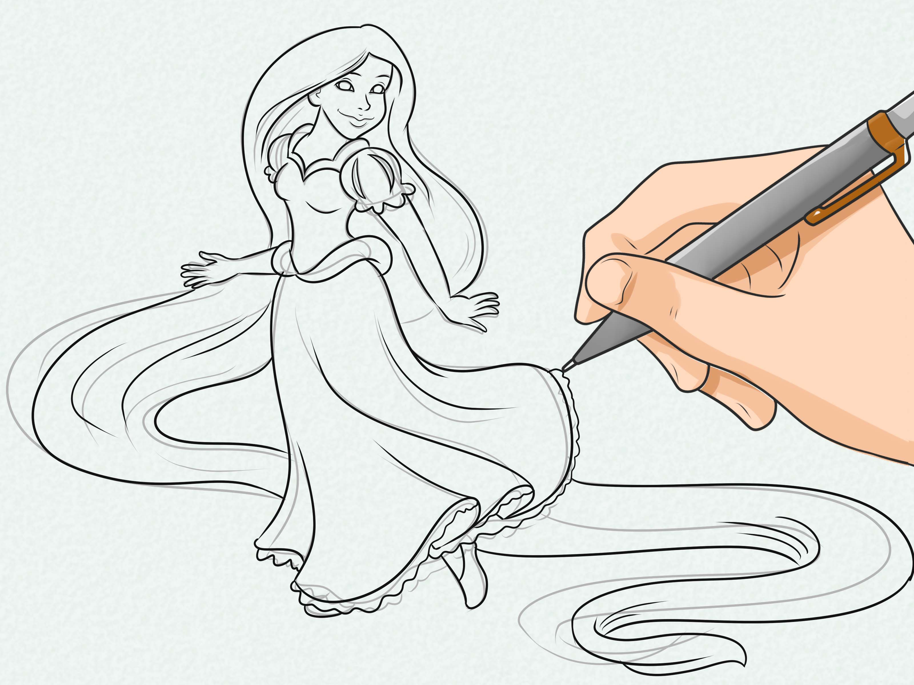 3200x2400 How To Draw Rapunzel 6 Steps (With Pictures)