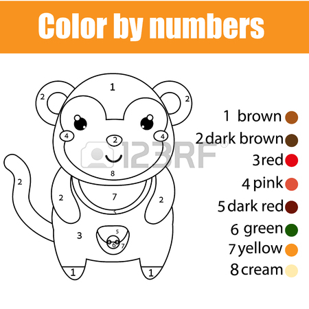 450x450 Coloring Page For Children. Monkey In Jungle. Drawing Kids