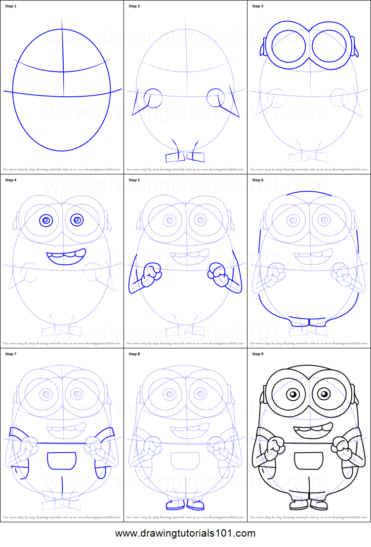 751x1107 How To Draw Bob From Minions Printable Step By Step Drawing Sheet