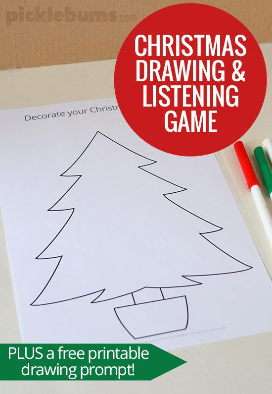 550x795 Christmas Drawing And Listening Game Christmas Drawing, Prompts