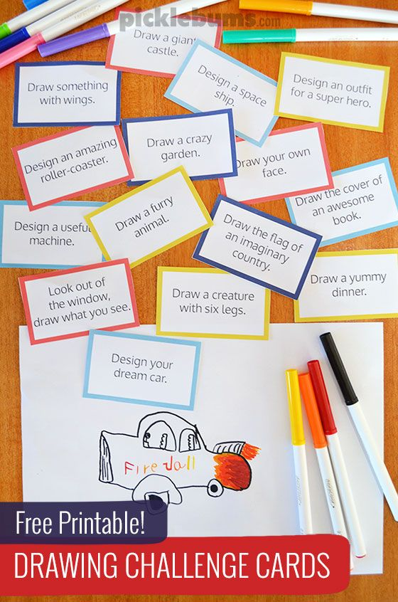 560x846 Free Printable Drawing Challenge Cards Drawing Games, Fun