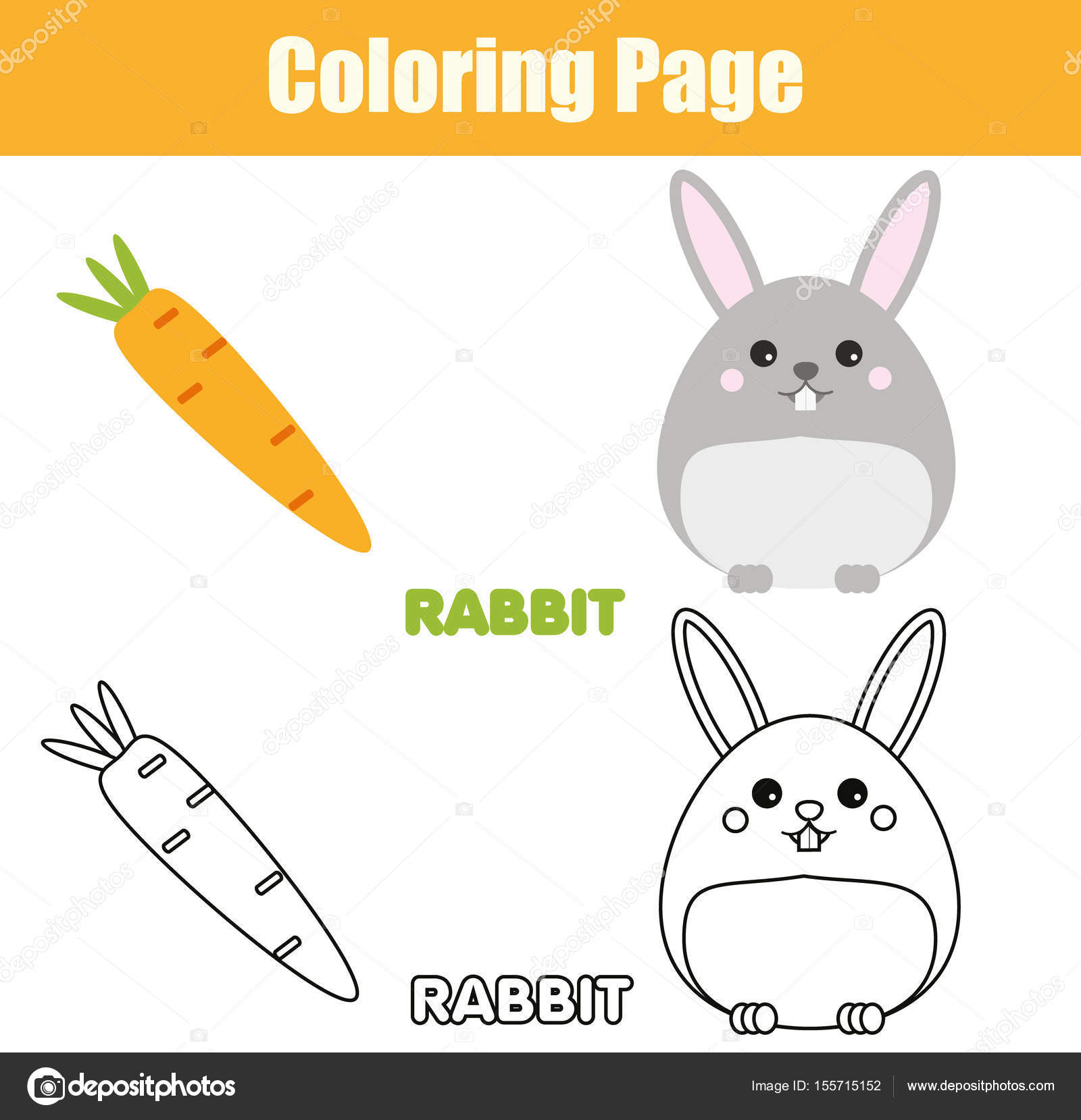 1600x1659 Coloring Page With Rabbit, Bunny Character. Educational Game
