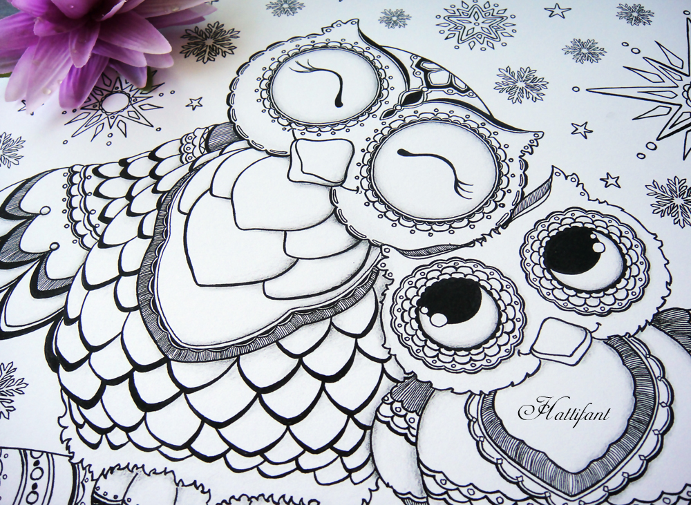 1000x731 Owl Colouring Pages And Printable Card 1