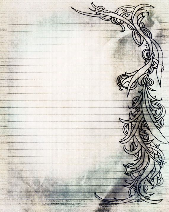 570x713 Printable Charcoal Sketch Swirl Filigree Lined Journal Page