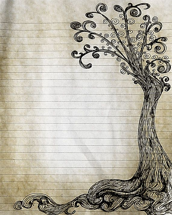 570x713 Printable Pen And Ink Tree Drawing Lined Journal Page, Digital