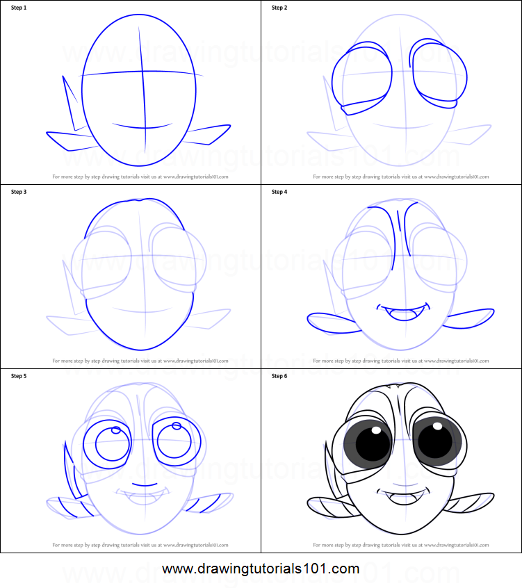 751x846 How To Draw Baby Dory From Finding Dory Printable Step By Step