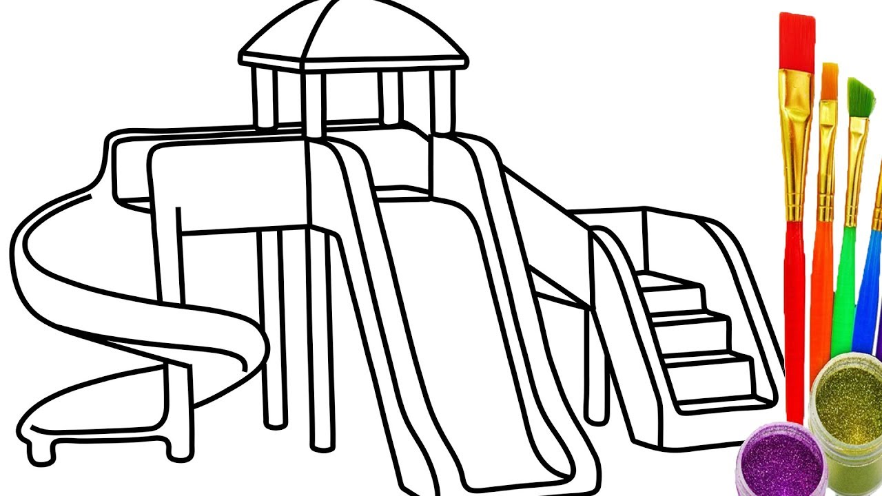 1280x720 How To Draw Sliding Playground Kid Coloring Pages For Children