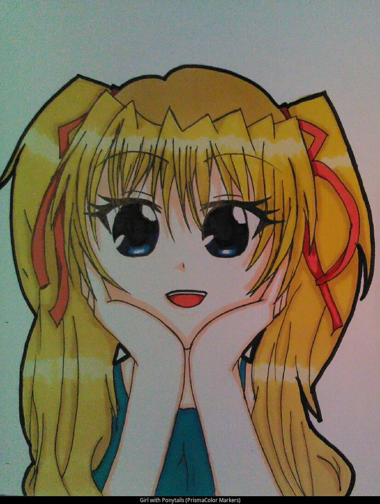 776x1030 Anime Girl With Ponytails (Prismacolor Markers) By
