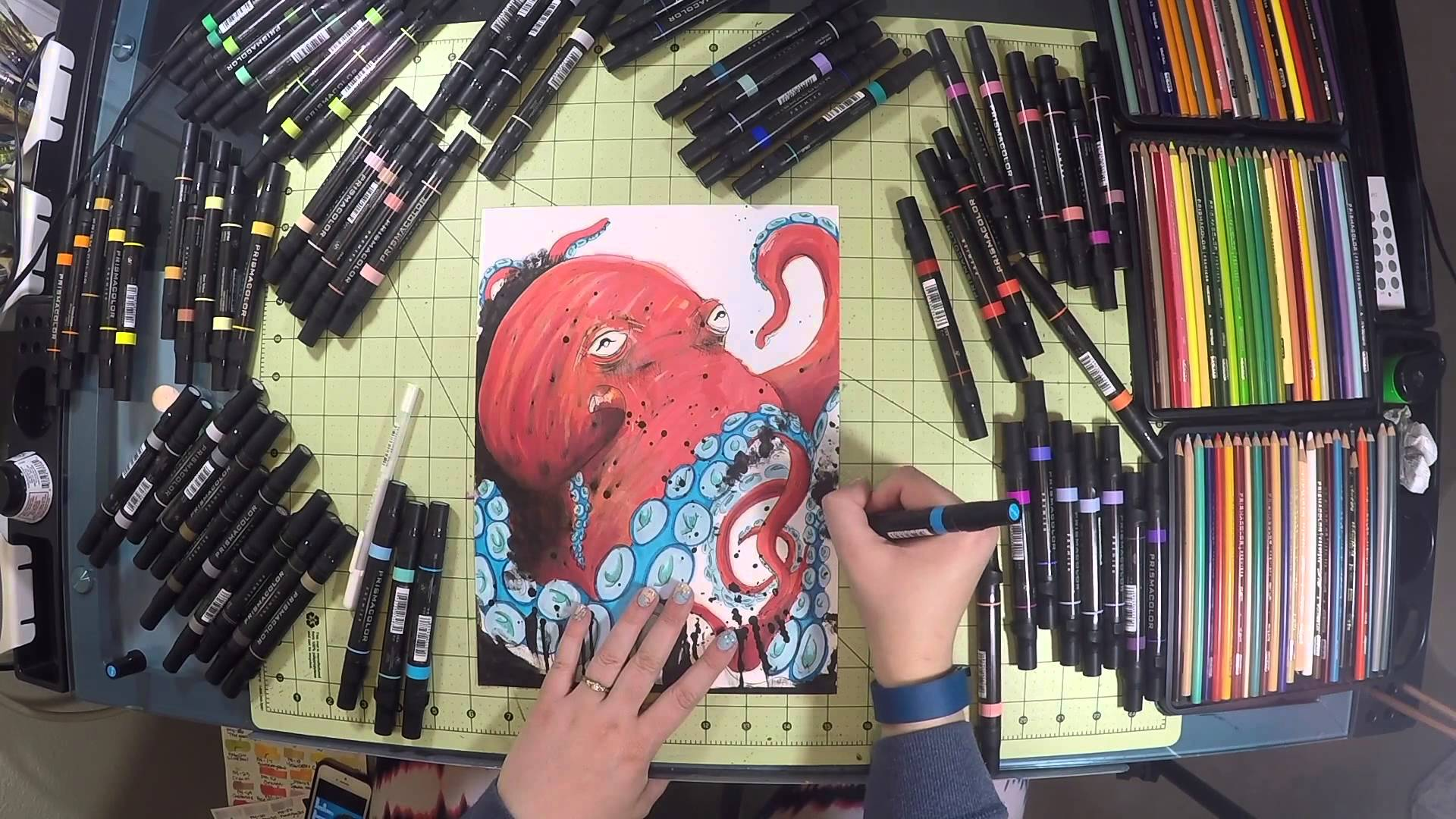 1920x1080 India Ink Amp Prismacolor Premier Double Ended Art Markers Octopus