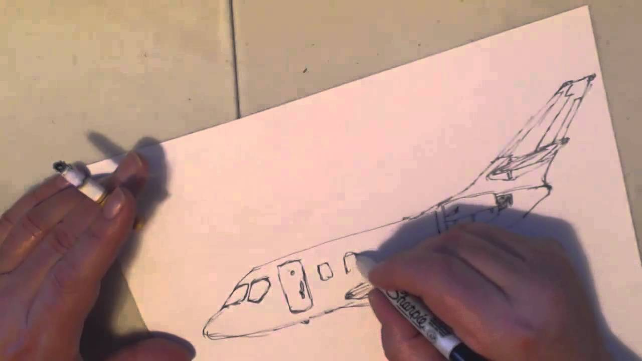 1280x720 A Quickie Drawing Of A Private Jet Of Some Sort.