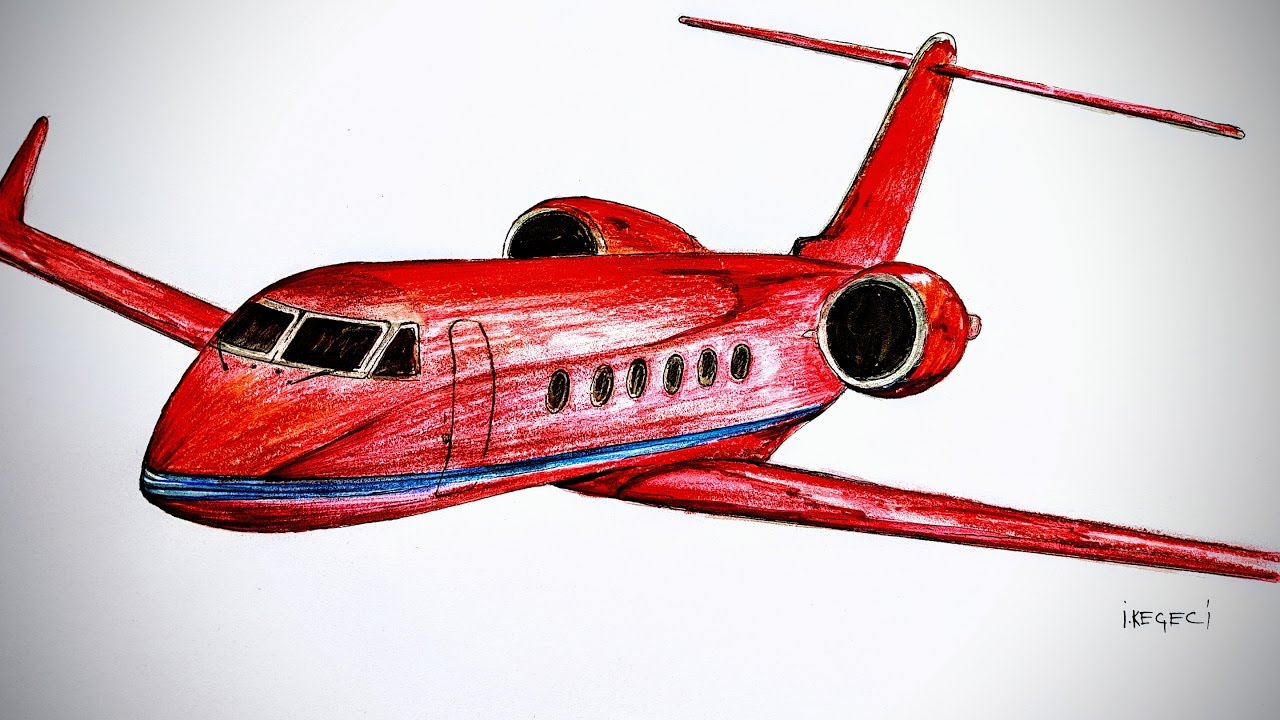 1280x720 Gulfstream 4, Private Jet,drawing Timelapse