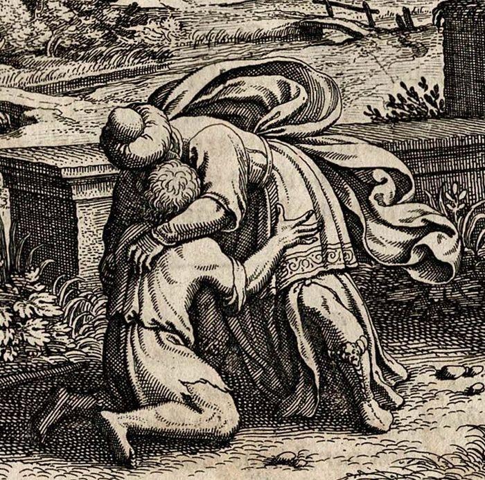 700x693 Mathias Merian (1593 1650), The Return Of The Prodigal Son, 1627