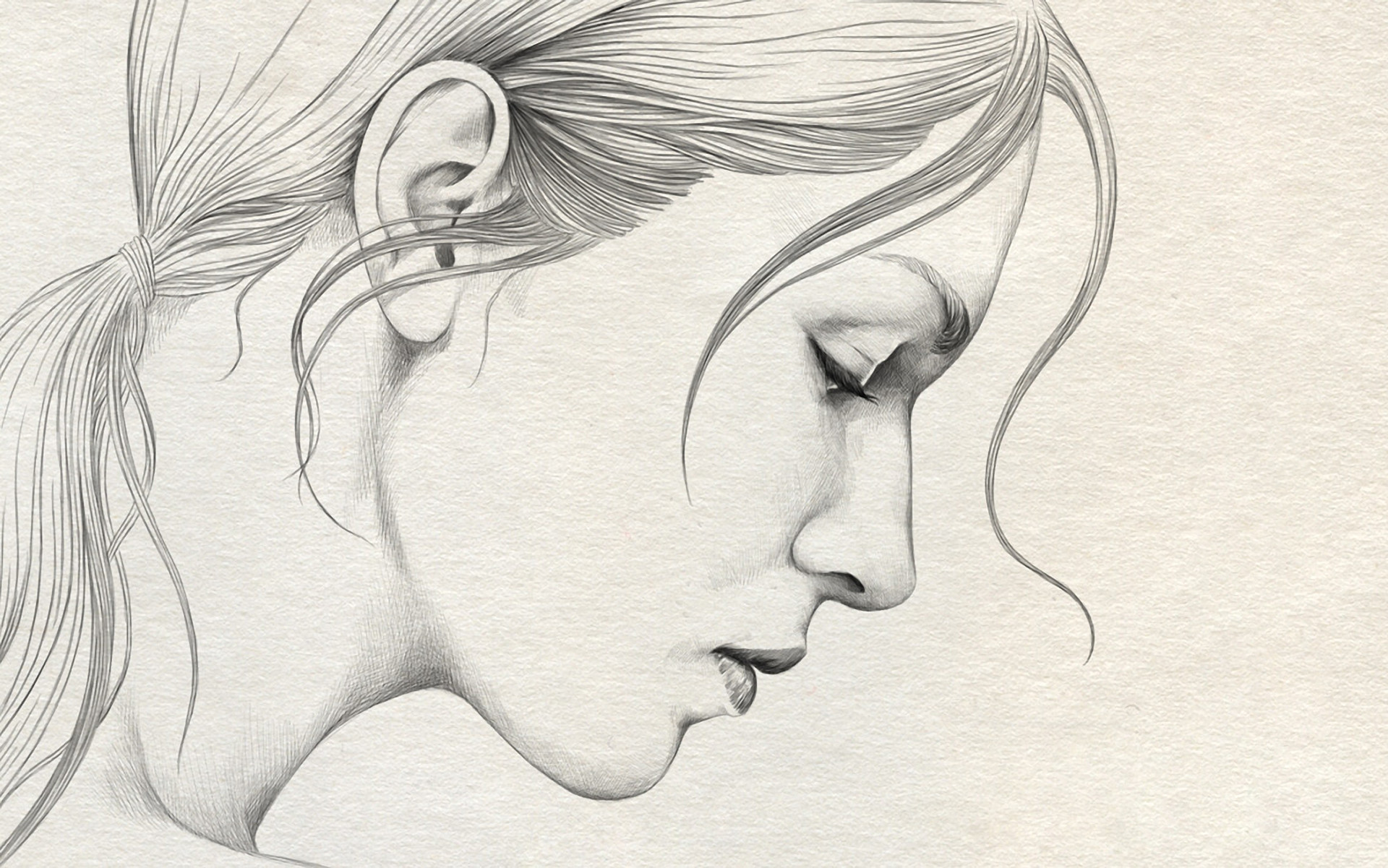 1920x1201 Girl Face Drawing Profile