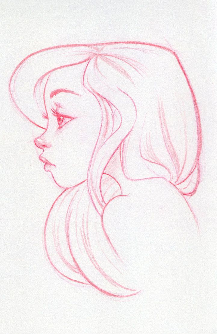 721x1107 Girl Looking Up Drawing Profile 130 Best Side Profile